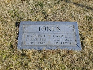 Warner LaRue and Carrie Esther (Breneman) Jones   Ryan Township Cemetery, Milan, Sumner County, Kansas