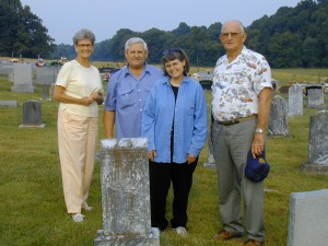 66 - L - R: Nancy Bertram Bush, Norman and Sherry Stocking Kline, Dennis Bush pay respects to family members at the Temple Hill Baptist Church, Barren County, Kentucky