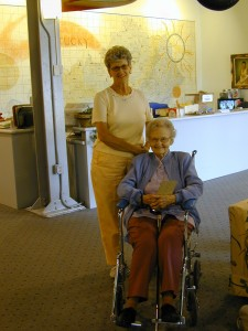 29 - Nancy Bertram Bush, standing and Dorothy Jones Stocking Barry seated.
