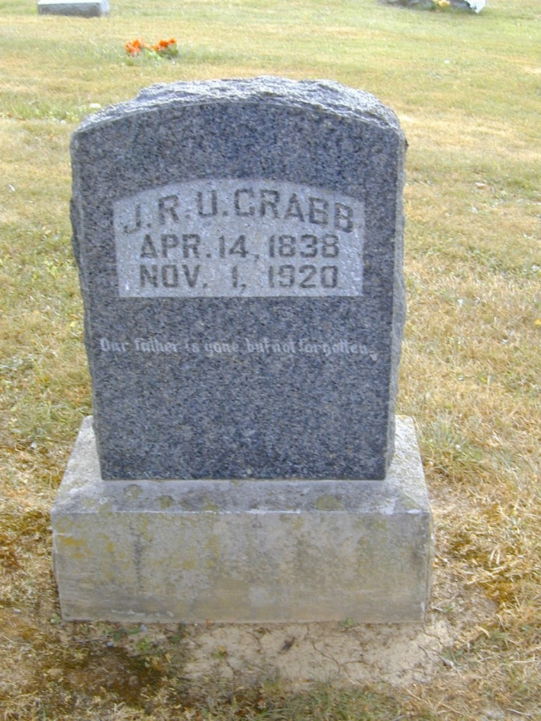 J. R. U. Crabb, husband of Elizabeth Laird Crabb Buried in Glasgow Kentucky Cemetery, Barren County