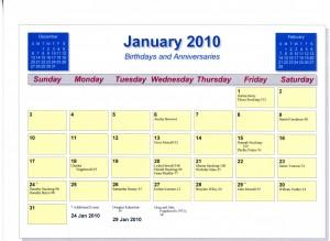 Legacy Calendar for January