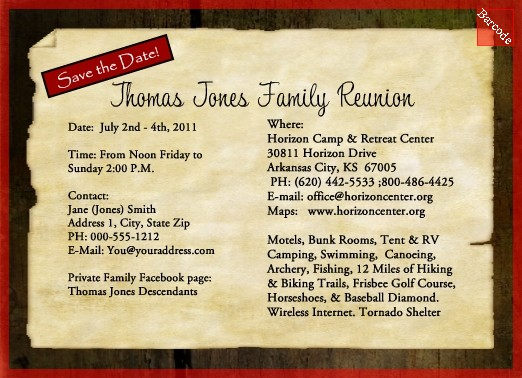 Family Reunion Save the Date Invitation Backside