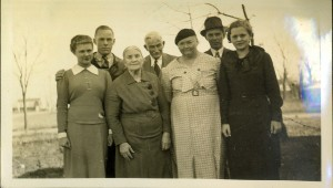 Back row: Max Stocking, Roderick Remine Stocking, Wilmer Stocking, Front Row: Marie Stocking, Mary Nyberg, Myrtle (Nyberg) Stocking, and Alice Maxine Stocking