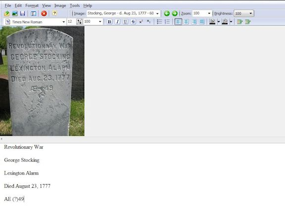 Screen shot of Transcript showing Revolutionary War era, George Stocking's tombstone