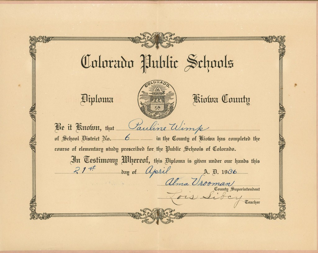 Wimp, Pauline - 1936 Elementary Graduation booklet inside