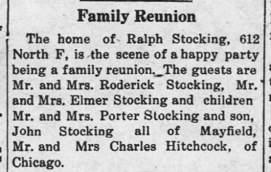 Wellington Daily News report on the Stocking - Hitchcock Family Reunion held on 21 May 1913 in Wellington.