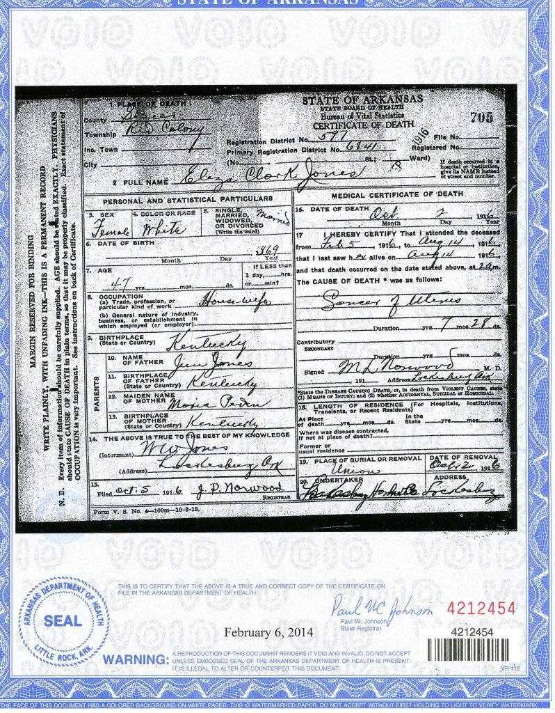 Amanuensis monday eliza clark jones arkansas death certificate leave a reply 1betcityfo Image collections