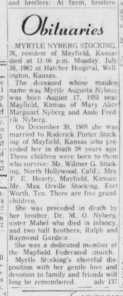 Obituary for Myrtle Augusta Nyberg Stocking
